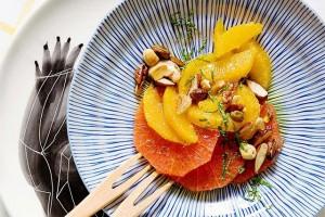 Agrumes, miel et fruits secs