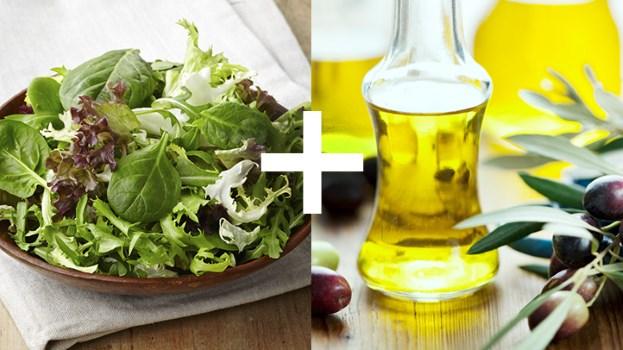 Legumes verts feuillus et huile olive