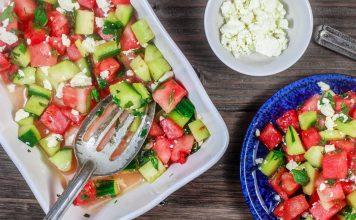 Salade d'été de pastèque au concombre