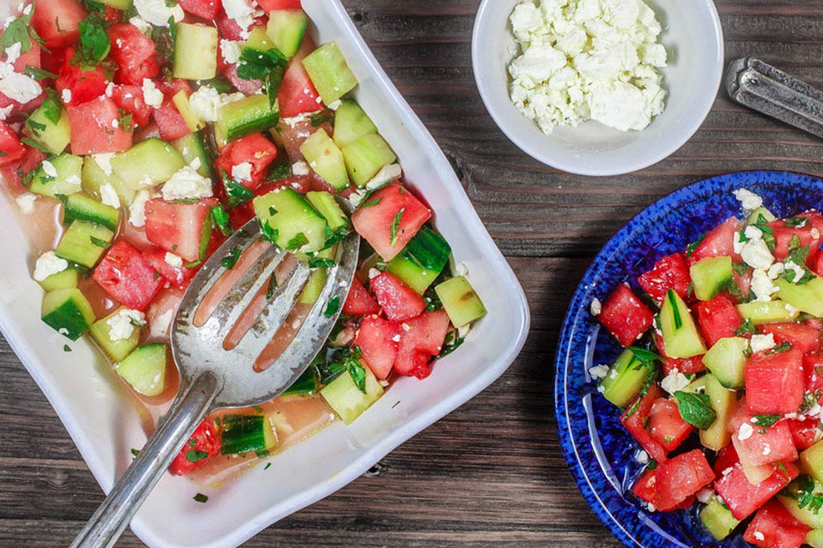Salade d 39 t de past que au concombre manger m diterran en - Salade de pasteque ...