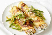 Crêpes asperges, poulet et fromage