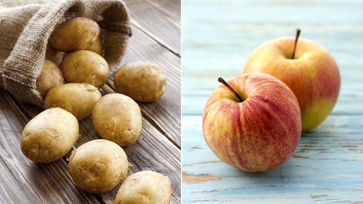une-pomme-avec-les-pommes-de-terre