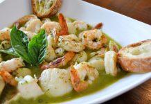 Pesto frais aux crevettes et coquilles Saint-Jacques